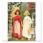 Snow White & Rose Red Square Car Magnet 3