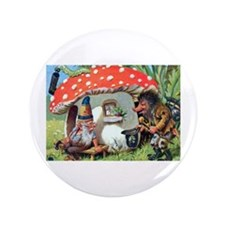 """Gnome Outside his Toadstool Cottage 3.5"""" Button (1"""