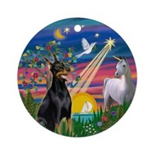 Magical Night - Doberman Ornament (Round)