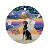 Xmas Angel - Doberman Angel Ornament (Round)