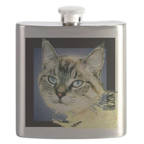 Blue Eyed Kitten Flask