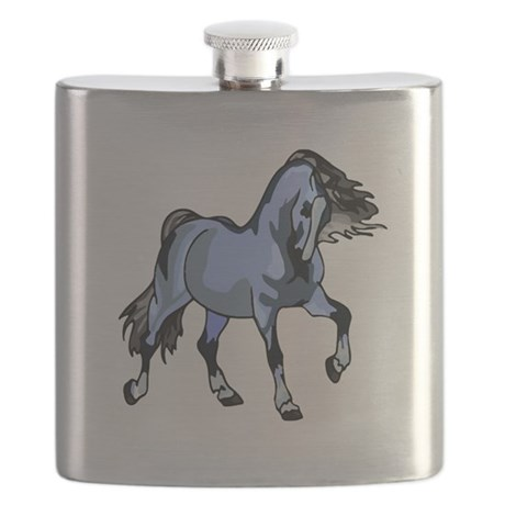 Lt Blue Horse Flask