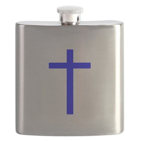 Bright Blue Cross Flask