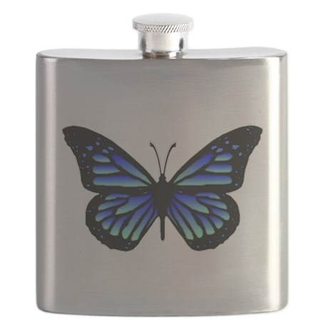 Blue Butterfly Flask