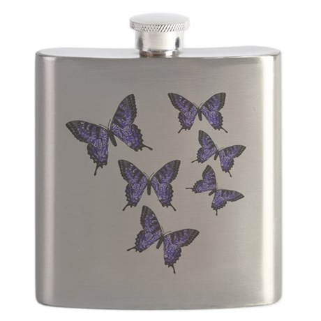 Purple Butterflies Flask
