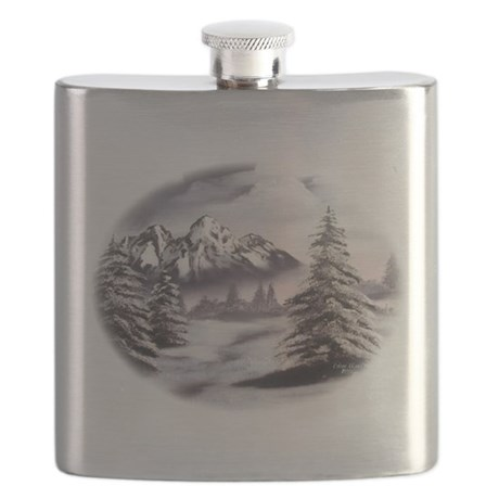 Snow Mountain Oval Flask