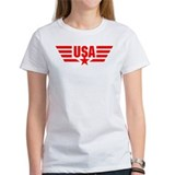 Red print USA Star and Stripes Wings  T