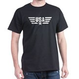 White print USA Star and Stripes Wings  T-Shirt