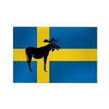 Sweden Elk / Moose Flag Rectangle Magnet (10 pack)