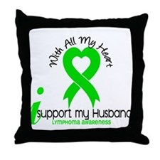 With All My Heart Lymphoma Throw Pillow