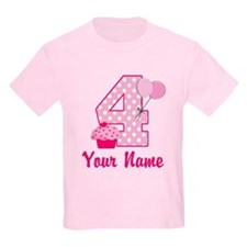 4th Birthday Pink Cupcake T-Shirt