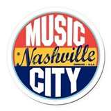 Nashville Vintage Label Round Car Magnet