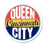 Cincinnati Vintage Label Round Car Magnet