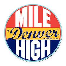 Denver Vintage Label Round Car Magnet