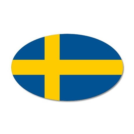 Flag of Sweden 35x21 Oval Wall Decal