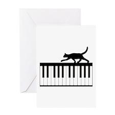 Cat and Piano v.1 Greeting Card