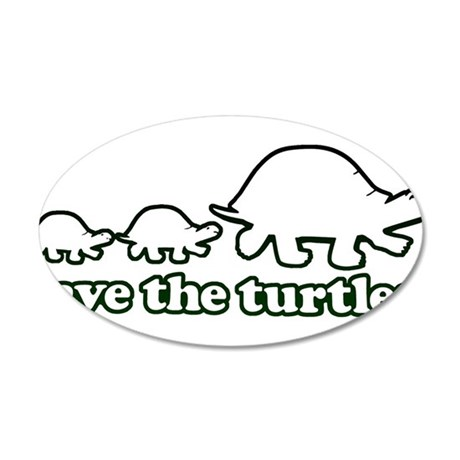 SAVE THE TURTLES! 20x12 Oval Wall Decal