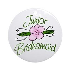 Jr. Bridesmaid Pink Flower Ornament (Round)