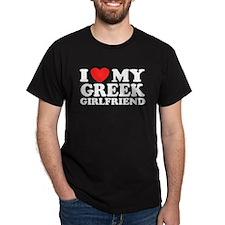 I love My Greek Girlfriend Black T-Shirt