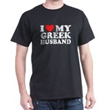 I love My Greek Husband Black T-Shirt