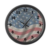 Vintage Flag Of America Large Wall Clock
