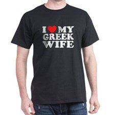 I love My Greek Wife Black T-Shirt