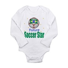 Cute Brazilian football Long Sleeve Infant Bodysuit