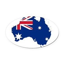 Australia Flag and Map Oval Car Magnet