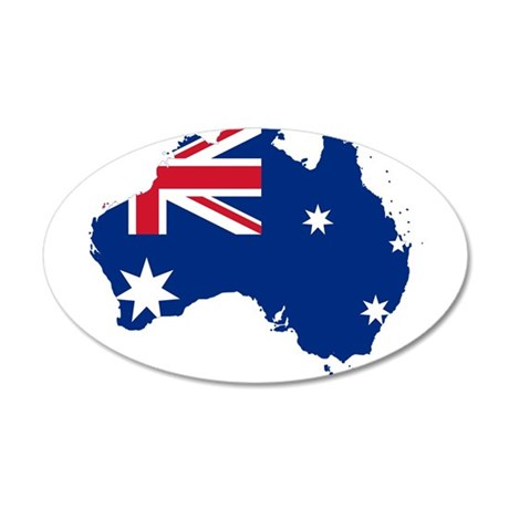 Australia Flag and Map 20x12 Oval Wall Decal