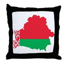 Belarus Flag and Map Throw Pillow