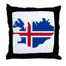 Iceland Flag and Map Throw Pillow