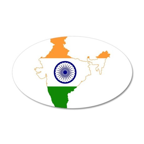India Flag and Map 35x21 Oval Wall Decal