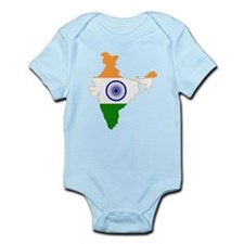 India Flag and Map Infant Bodysuit