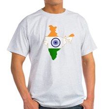 India Flag and Map T-Shirt