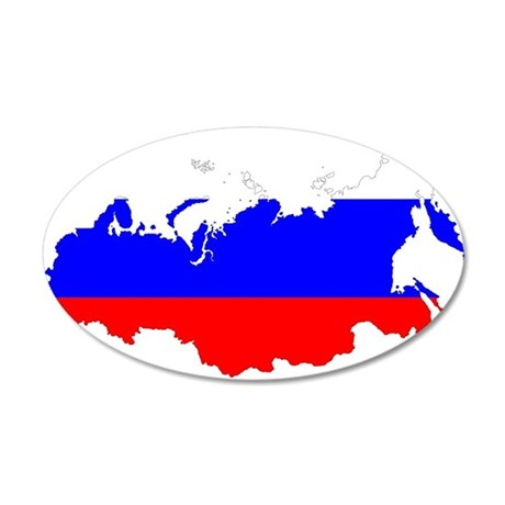 Russia Flag and Map 20x12 Oval Wall Decal