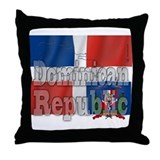 Silky Flag Dominican Republic Throw Pillow