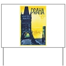 Prague Travel Poster 1 Yard Sign