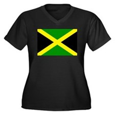 Jamaica Women's Plus Size V-Neck Dark T-Shirt
