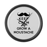 Keep calmd and grow a moustache Large Wall Clock