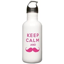 Keep calm and moustache Water Bottle