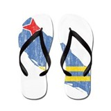 Aruba Flag And Map Flip Flops