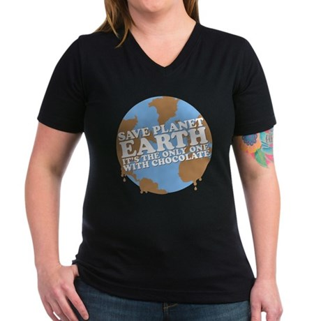 save earth Women's V-Neck Dark T-Shirt