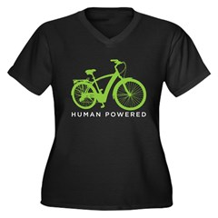 Human Powered Women's Plus Size V-Neck Dark T-Shir