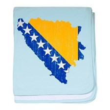 Bosnia And Herzegovina Flag And Map baby blanket