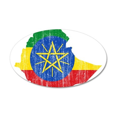 Ethiopia Flag And Map 20x12 Oval Wall Decal