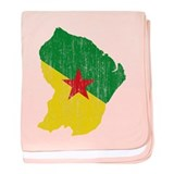 French Guiana Flag And Map baby blanket