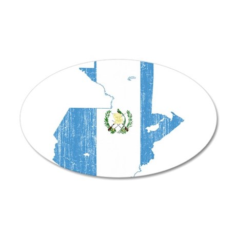 Guatemala Flag And Map 35x21 Oval Wall Decal
