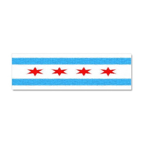 Chicago Flag Car Magnet 10 x 3