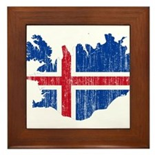 Iceland Flag And Map Framed Tile