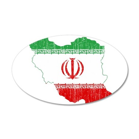 Iran Flag And Map 20x12 Oval Wall Decal